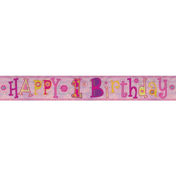 Holographic Pink Happy 1st Birthday Foil Banner
